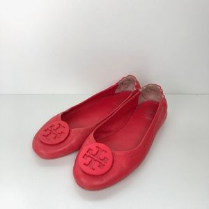 Tory Burch Minnie Travel Leather Ballet Flats Red